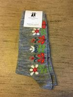 Cai strumpa i merinoull Monica ljusgrå melange st.40-45