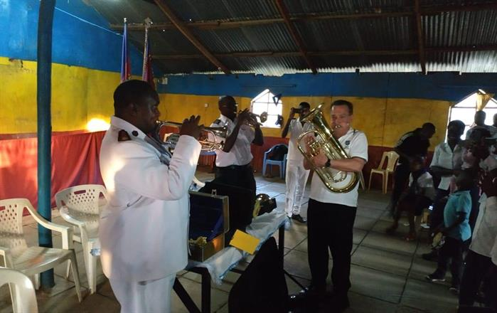 Trying the new instruments together with Corps officer