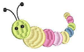 Snuttefilt med motiv larv
