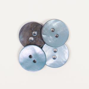 Perlemorknapp blå 15 mm