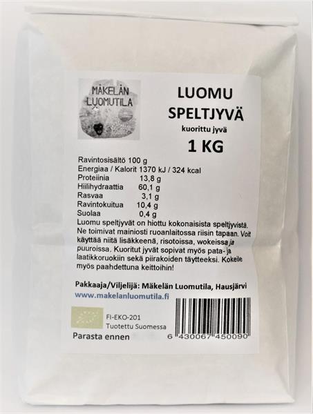 Speltjyvä, kuorittu 1 kg, luomu