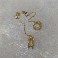 Three M Earrings, Gold