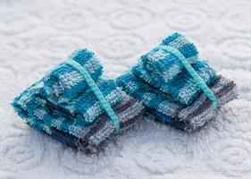 3 handdukar turkos-randig bomull frotte miniatyr