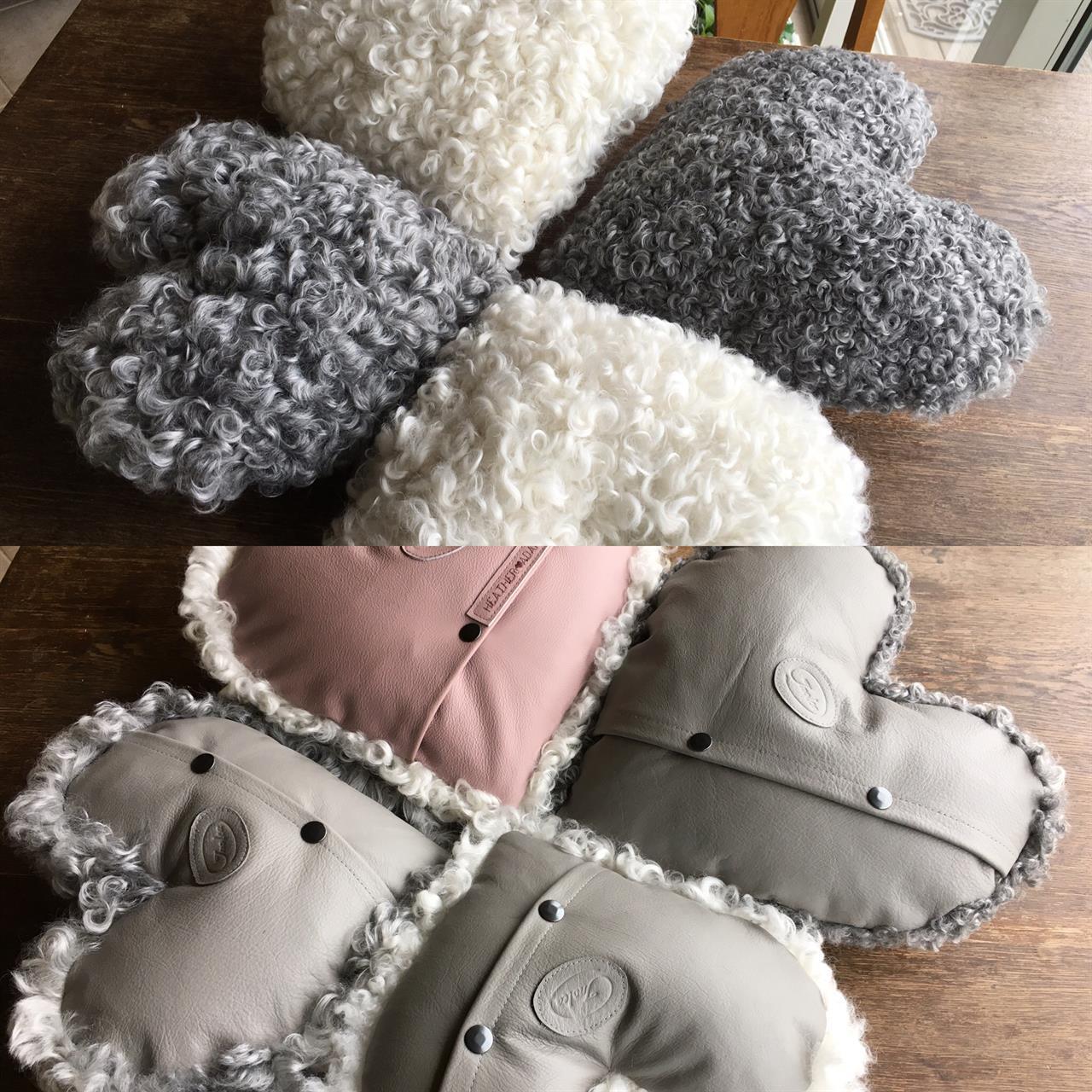 Hjärtkuddar i gotländskt lammskinn