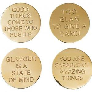 Classic Collection Coaster Quote brass