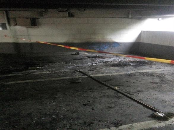 Vi sprøytemaler parkeringshus Oslo Sentrum etter bilbrann - Juli / August 2014