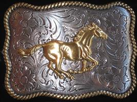 antiqued buckle running horse