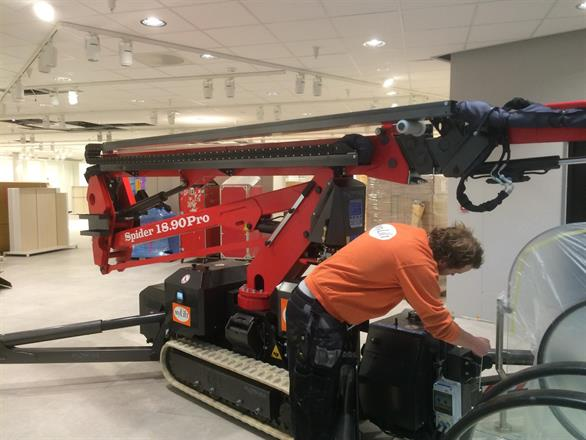 Plassering av lift før tapetsering med fototapet