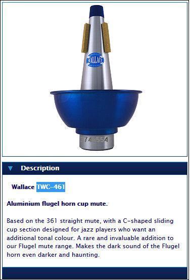 Wallace Aluminium flugel horn cup mute
