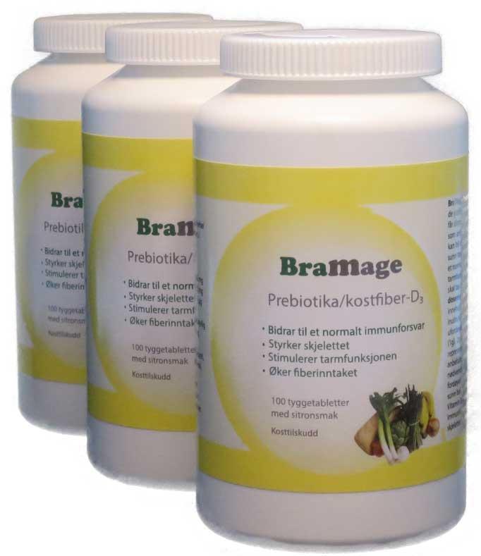 BraMage Prebiotika/kostfiber-D3 abonnement 3 stk.