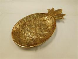 Skål Ananas, Antikk gull, 42 cm