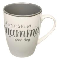 Krus Lykken...mamma hvit m/grå tekst