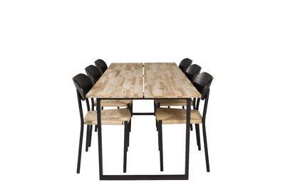 Bali matbord och 6 st Polly matstolar