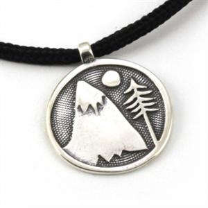 Halsband, Berg med träd, Vitt brons, Unisex