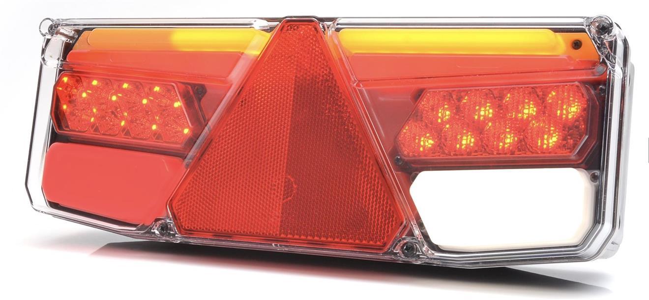 LED-TAKAVALO 350*131*81mm LIUKUVILKULLA KOLMIOHEIJASTIMELLA VASEN SIVUVALOLLA 2M KAAPELILLA