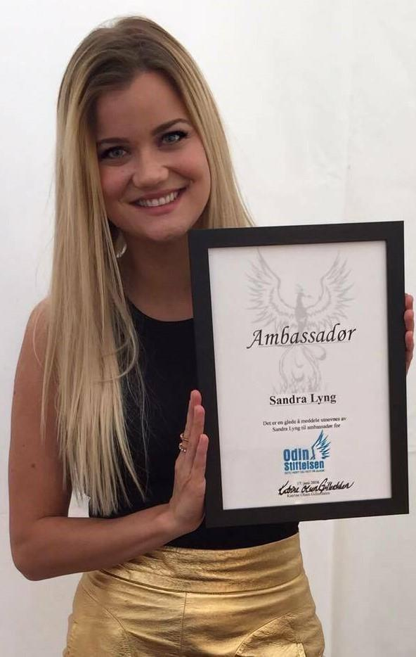 Sandra som stiftelsens ambassadør