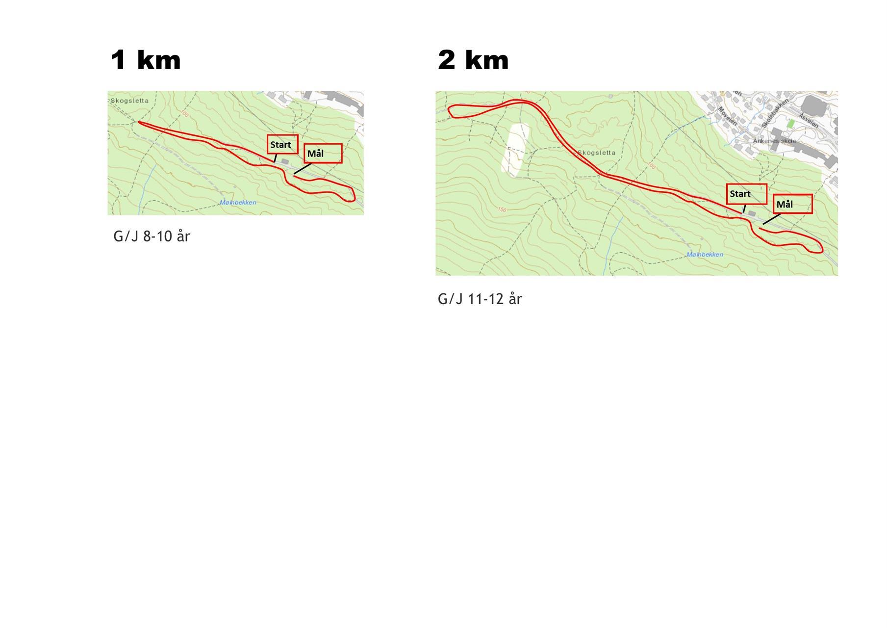 1 og 2 km