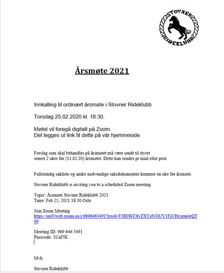 Innkalling til ordinært årsmøte i Stovner Rideklubb 2021