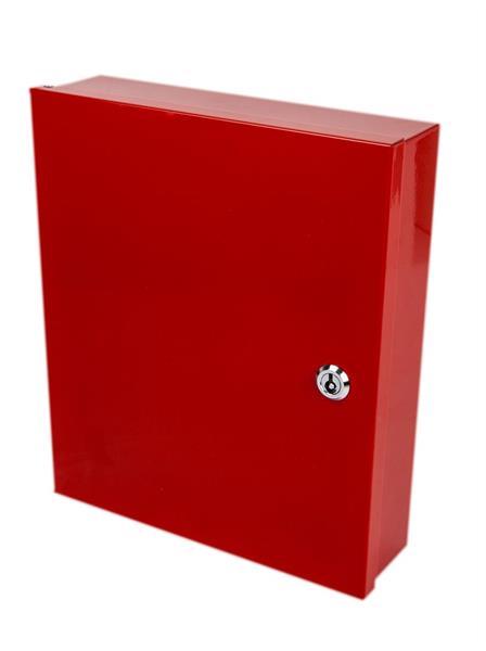 A4-Skåp för OR-ritningar, rött med brandkårslås