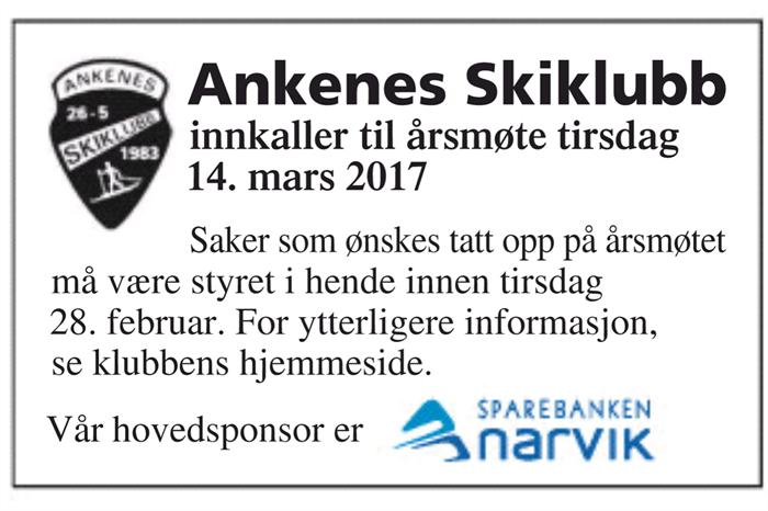 ÅRSMØTE 14 MARS 2017
