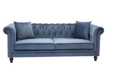 Velvet 3-sitssoffa blå