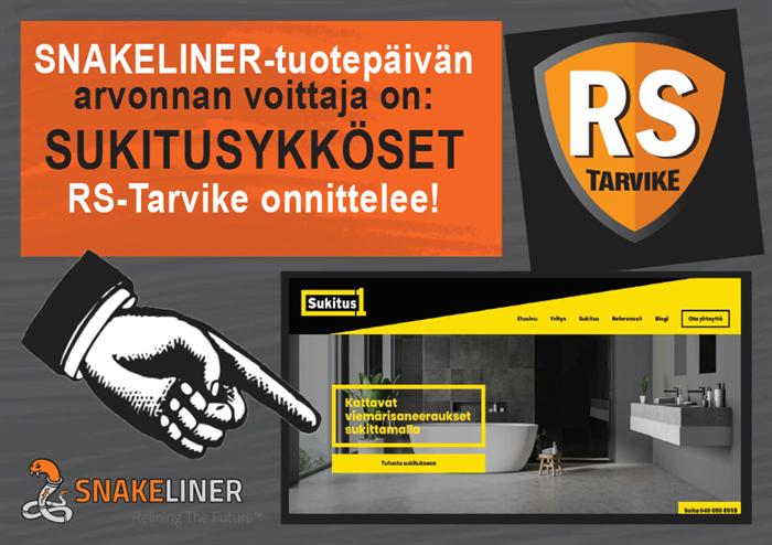 Snakeliner-arvonta on suoritettu: RS-Tarvike onnittelee Sukitusykkösiä!