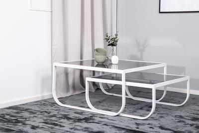 Rocker soffbord set 2 rökgrå glas/vit