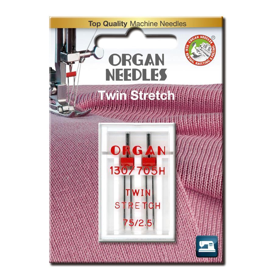 Nål Organ Tvilling Stretch 2,5mm 75, 2-pakk