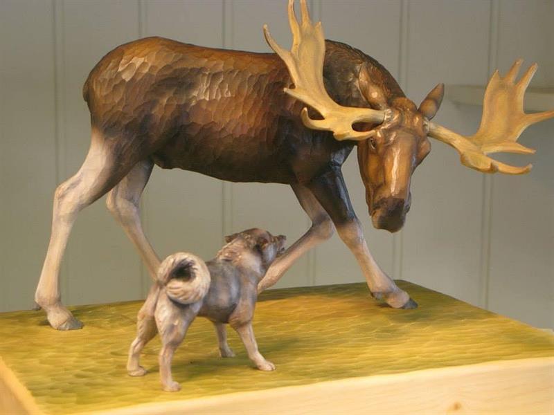 Elg og hund