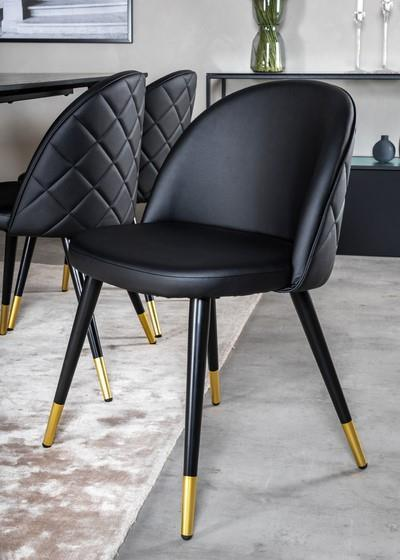 Velvet matstol med stygn svart