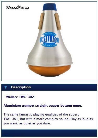 Wallace Aluminium trumpet straight copper bottom m