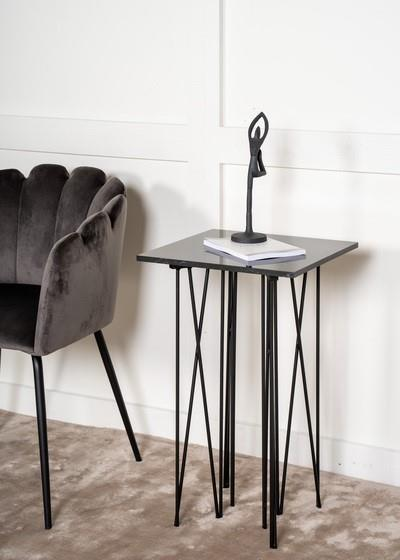 Stone avlastningsbord konstgjord sten/svart