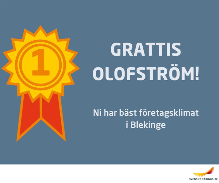 Bäst företagsklimat i Blekinge finns i Olofströms kommun