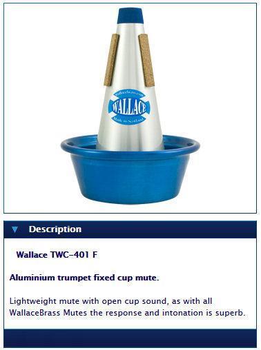 Wallace Aluminium trumpet fixed cup mute