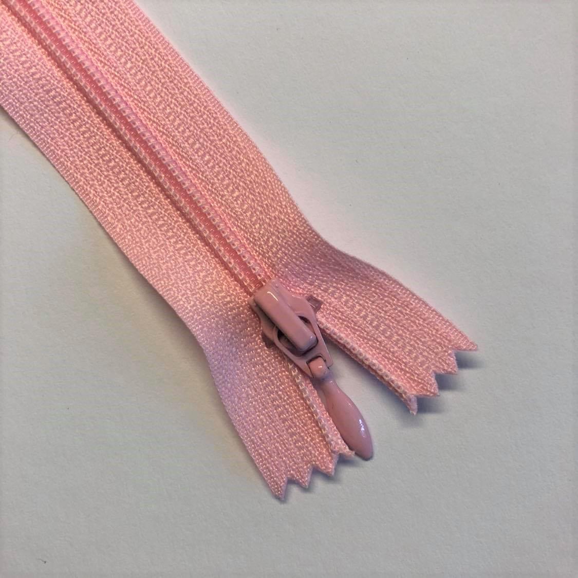 Glidelås, nylon, Lys rosa 30cm/4mm