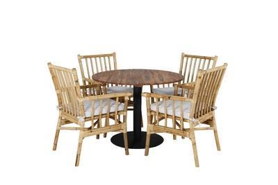 COT | CANE Matbord ø100/4 matstolar