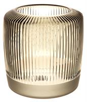 Lysglass stripet klar/matt grå/grønt 15x15cm