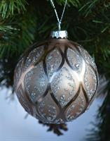 Julekule glass 8 cm grå med mønster, the Moshi