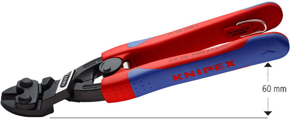 Knipex kompaktbultsax vinklad, returfjäder