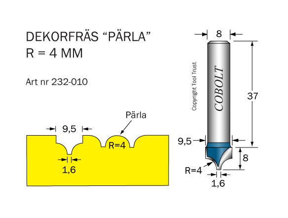 Dekorfräs Pärla R=4, D=9,5
