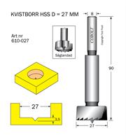 Kvistborr HSS D=27, TL=90 S=8