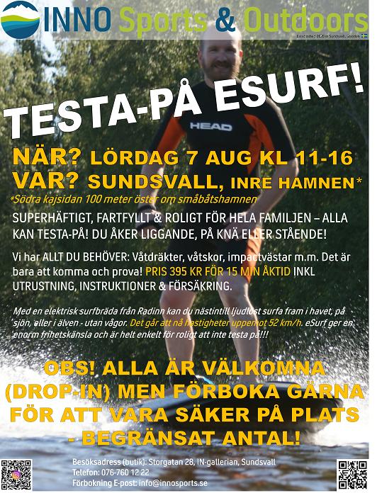 TESTA-PÅ-DAG ESURF & ONEWHEEL I SUNDSVALL  LÖRDAG 7 AUGUSTI