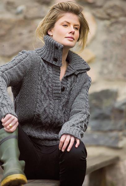 Tøff genser med flette & stor krage