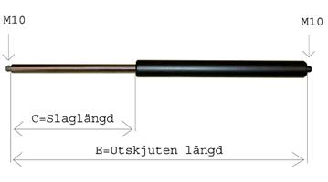 Gasfjäder GF 14/28, E=668, frontutl.  Eurotrailer