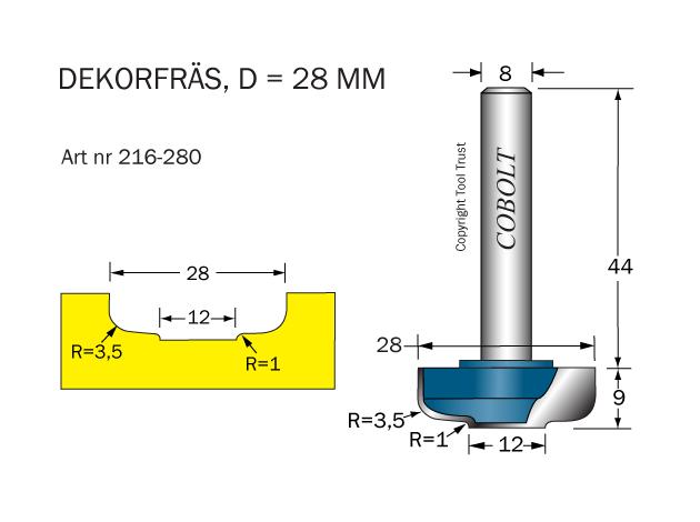 Dekorfräs D=28,R=3,5 & 1