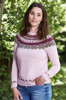 Sweater med mönstrat ok i Esther