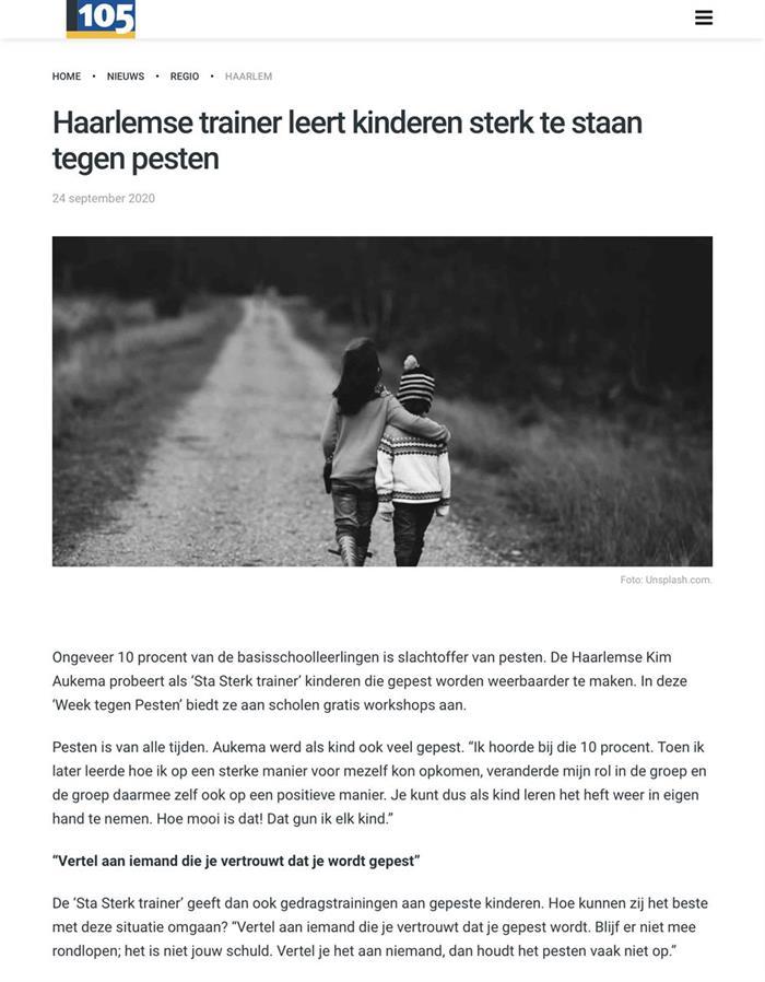 Interview Haarlem105 over de week tegen pesten