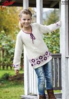 Barntröja med mönsterbård i Llama Silk