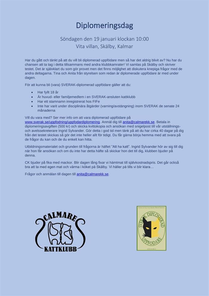 Diplomeringsdag på Skälby söndagen den 19 januari