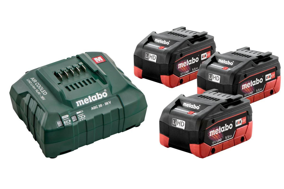 Metabo Batterikit 3x5,5Ah LiHD + Laddare